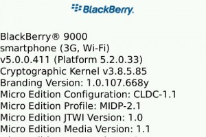BlackBerry About Page Screenshot